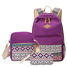 3Pcs Patterned Canvas Canvas Backpack Middle High Student Schoolbag