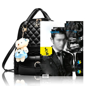 Quilted Pattern PU Synth Leather Small Fashion Backpack
