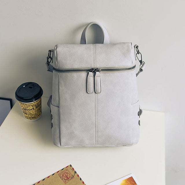 dad9b92374 ... Simple Style Backpack Women PU Synth Leather Backpacks Fashion Vintage  Solid Shoulder Bag ...