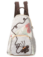 Pattern Stitch Women Canvas Backpack Vintage Ethnic Mochila Small Rucksack