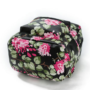 Floral Print Pu Synth Leather Small Backpack