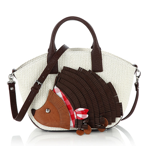 Creative Personality Hedgehog Panelled Colors Stitching + Woven Handbag Shoulder Bag