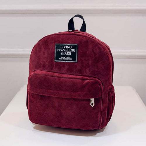 Vintage Simple Solid Colors Zipper Corduroy Small Backpacks