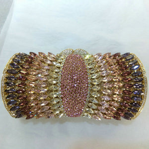 Socialite Purple Rhinestones Crystal Evening Clutches Bag Wedding Dress Bridal Diamond Chains Shoulder