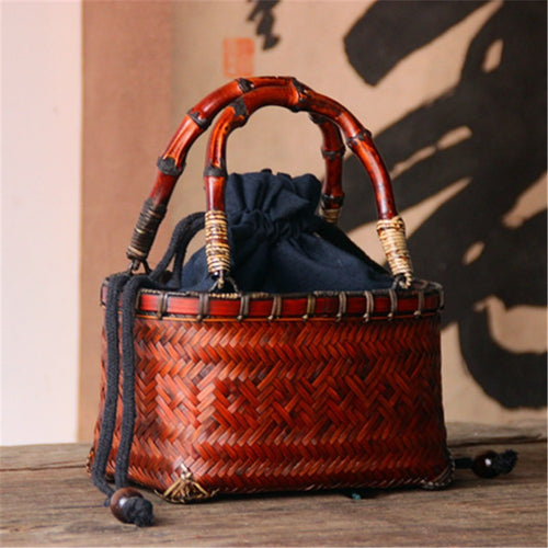 Chinese Style Woman Mini Package Rattan Braided Bag Bamboo Straw Basket