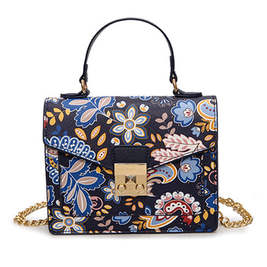 Fashion Floral Print Crossbody PU Synth Leather Handbag