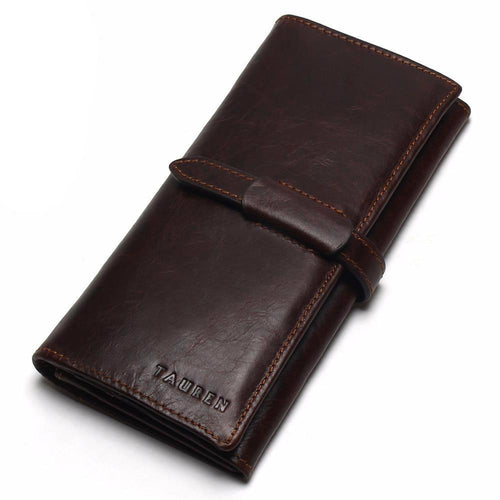 High Capacity Long Style w/Hasp Genuine Leather Men's Wallet