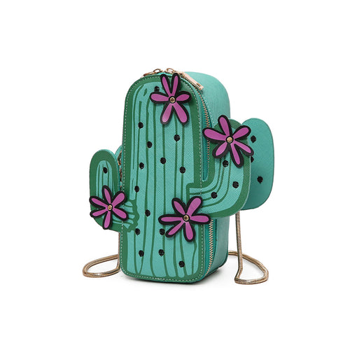 Green cactus shape novelty embroidery flowers shoulder mini chain crossbody