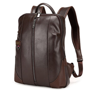 Men's Patent Leather Vertical and Top Zip Fashion Backpack