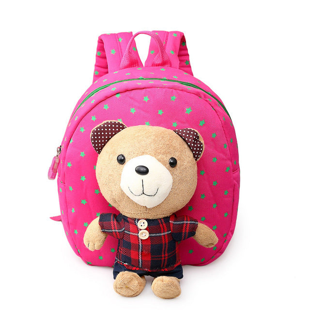 Toddler Backpack Cotton Boys Girls With Detachable Cartoon bear Doll