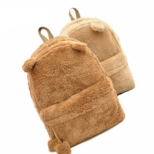 Bear Ear Large Size Furry Backpack