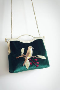 Bird Flower Embroidery Vintage-style Clutch