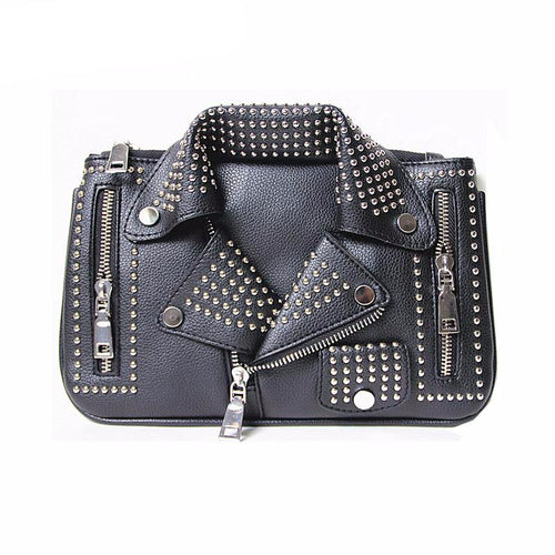 Rivet motorcycle pu synth leather shoulder fashion handbag chain Crossbody casual clutch