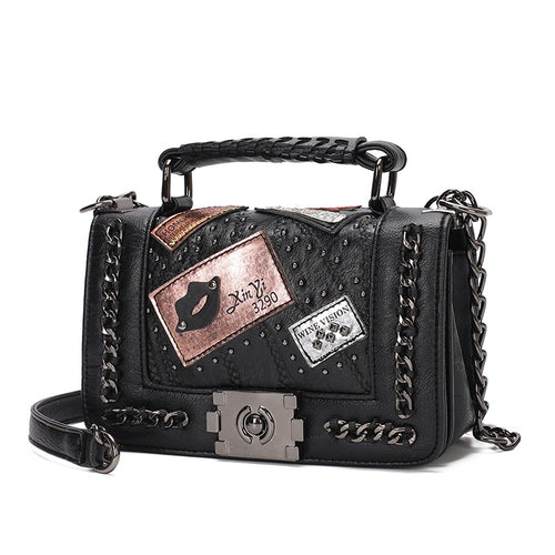 Rivet PU Synth Leather Shoulder Bag Women Small Crossbody Handbags