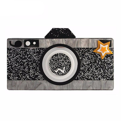 European Cartoon Camera Shape Acrylic Clutch