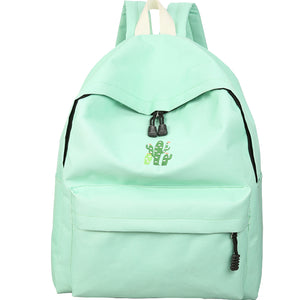 Cactus Embroidery Simple Canvas Backpack