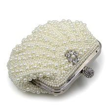 Pearl Beige/White Bridal With Rhinestones Metal Hard Case Clutch Purse With Chain