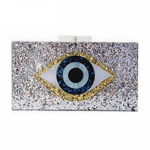 Women messenger bags Geometric mosaic wallet acrylic evening bag Sequins eyes casual Shoulder Bag