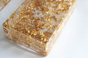Gold Flakes Transparent Acrylic Clutch