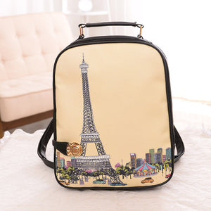 Square Style Fashion Backpack Eiffel Tower + Fashion Girl + Big Ben and more