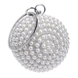 Unique and Lovely Round Pearl Beads Clutch handbag Wedding Bags red, blue, white, Beige/gold , Black