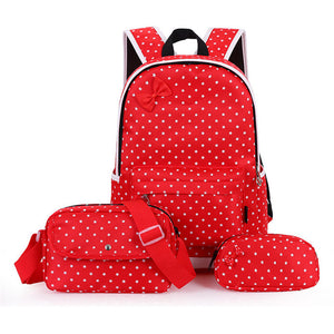 Girls Cute Dot Printing Backpack shoulder handbag set