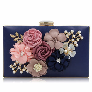 Beautiful Envelope Evening Clutch with Roses and Pearl Mini Wedding Bag