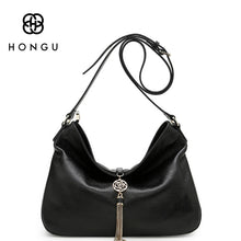 Hongu Genuine Leather Luxury  Business Tote  zippo Tassel  Shoulder Strap