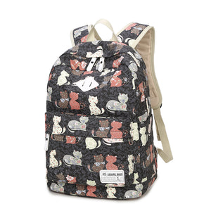 Cartoon Cats + Eiffel Tower Bicycle Prints School Backpack