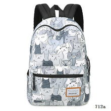 Cat Print Backpack Fashion Canvas Backpack Women Laptop School Bags For Teenagers Bookbag Animal Prints
