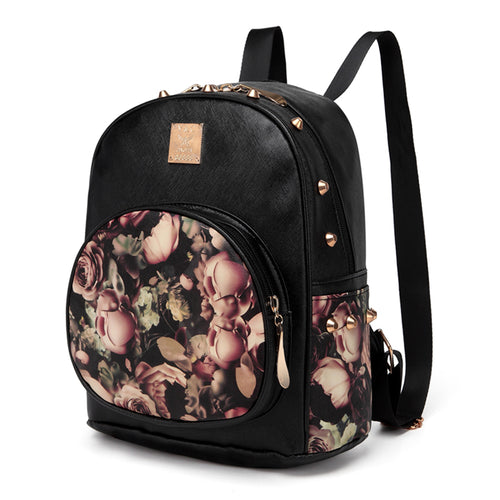 Women Backpacks 3D Print Floral PU Synthetic Leather Rivet Female Trendy