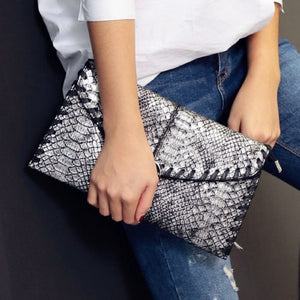 Serpentine Women Double Clutch Bag Handbags Chain Shoulder Bag Messenger Bag Evening Bag PU Synth Leather