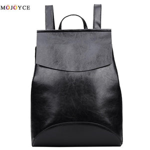 Synth PU Leather Backpack Female for Teenage Girls Backpacks Bookbags for School