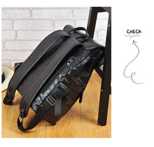 Men's Fashion Top Flap Backpack PU Synth Leather
