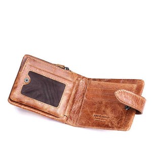 Rugged Look Genuine Leather 2 Fold Ultra Compact Wallet