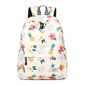 Pineapple Party Waterproof Polyester Backpack