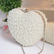 Heart Shape Pearl Beaded Bridal Party Clutch
