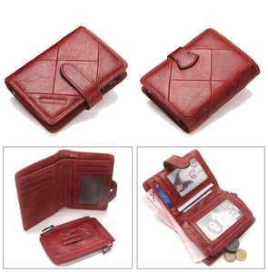 Classic Vintage Short or Long Style Genuine Leather Wallet