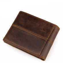 Classic Rustic Genuine Leather Bifold Wallet w/ Outer Pocket
