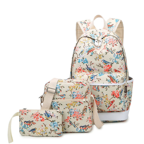 Canvas Set Travel Bag Laptop Bird and Floral Backpacks Waterproof - 3 Piece Set