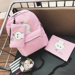 3 pcs set Character Nylon Backpack Set