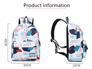 Hit Color Geometric Print Quality Backpack