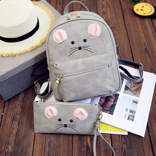 Mouse Face Casual Small Backpack w/Accessory Bag