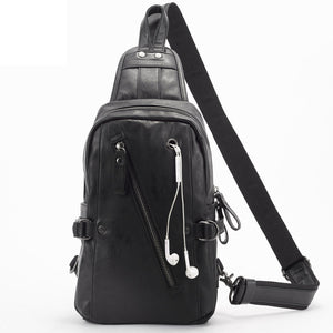 Men's black zipper PVC soft Crossbody Chest Bag