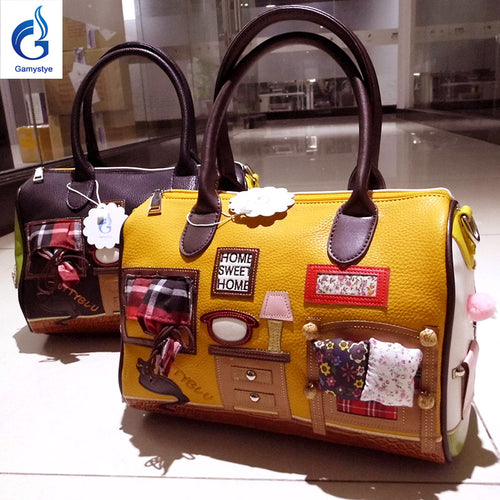 Art Retro Home Scenery Embroidery Patchwork Handbag