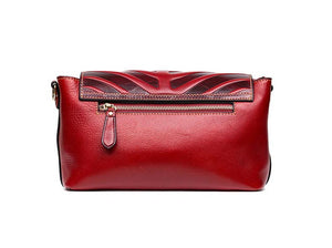 Beautiful Leaf Style Overflap Real Genuine Leather Clutch bag