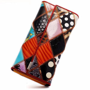 Colorful Patchwork Artistic and Creative Long Wallet