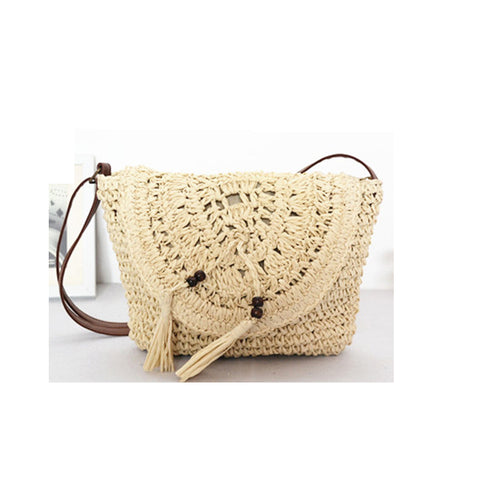 Paper Rope crocheted Straw Bag with tassel shoulder Crossbody