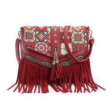 Tassels Messenger Bags Vintage PU Synth Leather Zipper Clutch Bag Crossbody Bags For Women Mini