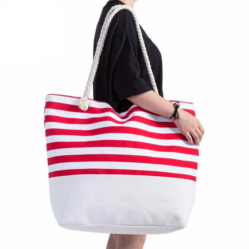 Canvas Beach Bag Striped Printed Large Size Tote Bags